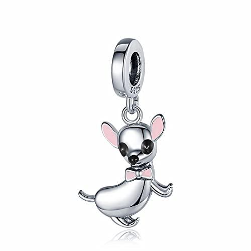 LIJIAN Linda Mascota Chihuahua Perro Colgante Encanto 925 Plata Esterlina Rosa Esmalte Pendiente Joyería Regalo Accesorio para Niña