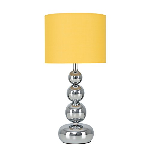 Modern Polished Chrome Stacked Balls Touch Table Lamp with a Mustard Shade - Complete with a 5w LED Dimmable Candle Bulb [3000K Warm White]