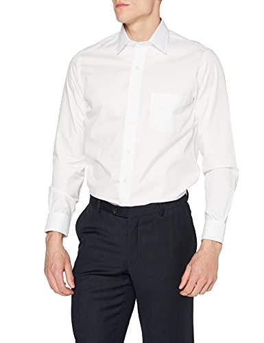 Brooks Brothers Camicia Milano Taschino Manica Lunga Business, Bianco (White 100), Small (Taglia Produttore:15H 33) Uomo