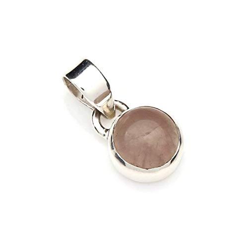Rosenquarz Anhänger 925 Sterlingsilber Kettenanhänger Medaillon rosa (97-07)