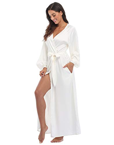 HDE Peignoir Damen Satin-Robe, bodenlang, Vintage, Hollywood, Glam - Wei� - Large