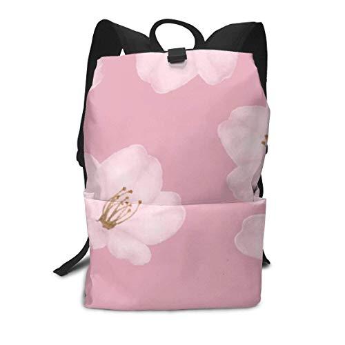 Unisex Backpack, Watercolor Mauve Cherry Blossom Sakura College Students Bookbags Travel Computer Notebooks Daypack School Outdoor Shoulder Bag Daypack