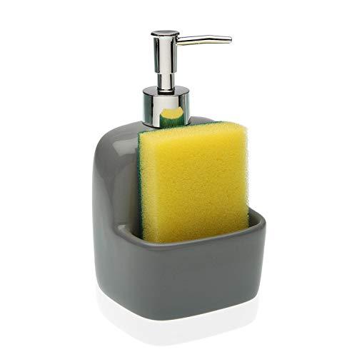 DONREGALOWEB Cocina - Dosificador estropajero Gris de cerámica Decorado 10.5x9.4x10.8 cm