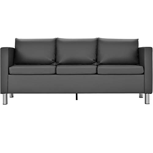 DREAMADE Sofa Couch, Kunstledersofa mit Stahlfüßen Rückenlehne und Armlehne, Polstersofa Couch mit Sitzkissen und Rückenkissen, für Büro Wohnzimmer (3-Sitzer)