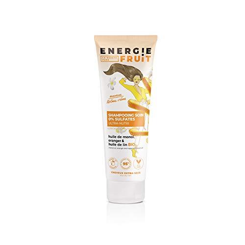 Energie Fruit Shampoing sans Sulfates pour Cheveux Très Secs/Abimés Monoï Oranger/Huile de Lin Bio 1 Unité