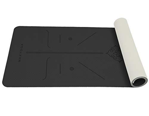MAXYOGA® MaxDirect Esterilla Yoga con Sistema de Alineación y Marcados. Colchoneta Yoga Mat Antideslizante y Ligera de Material Ecológico TPE. Tamaño Ideal 183cm x 61cm x 6mm. - Negro