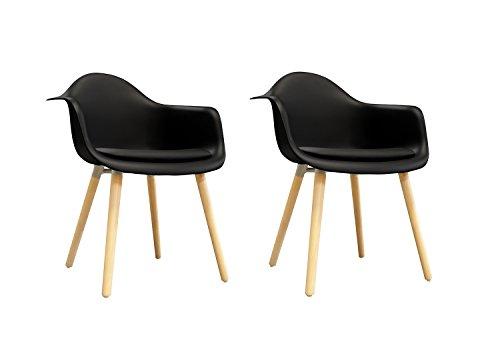 Meubletmoi Lot de 2 chaises Noires accoudoir - fauteuils Design Vintage scandinave - Pieds Bois - Confortable et Robuste - Hans