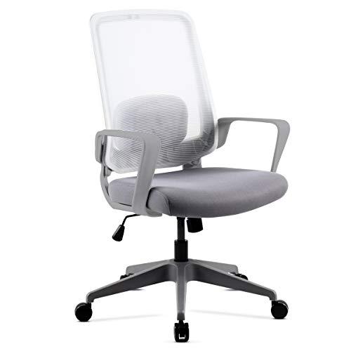 Mc Haus ADONIS - Silla con Ruedas de Escritorio Ergonómica Regulable de color Blanco, Silla de Oficina ajustable con resposabrazos y asiento Acolchado para Despacho 58x50x100-110cm