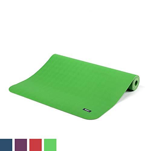 BODHI extrem rutschfeste Yogamatte ECOPRO aus 100% Natur-Kautschuk (185x60cm, 4mm stark, 1,6kg), schadstofffrei für Yoga, Pilates & Fitness, grün
