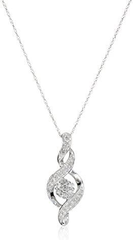 10k Diamond Pendant Necklace, 18″