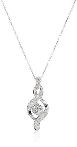 Amazon Collection 10K White Gold Diamond Twist Pendant Necklace (1/4...