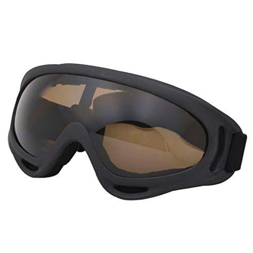 Almencla Motorradbrille Fahrradbrille Schutzbrille mit Verstellbarem Elastischem Gurt, Windschutz, Anti-Beschlag, UV-Schutz - Braun