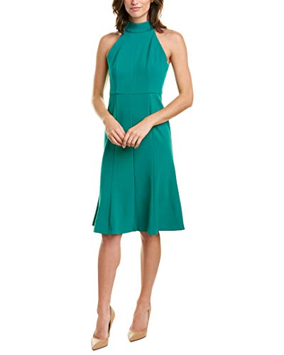 Donna Morgan Crepe Mock Neck Halter Midi Dress Evergreen 4