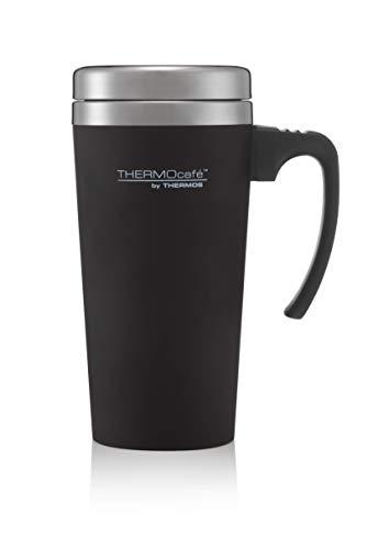 ThermoCafé Thermobecher, Kunststoff und Edelstahl, weicher Griff, 420ml, Soft Touch Black, 420 ml