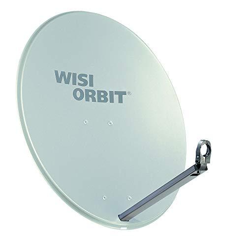 WISI Orbit Line Satelliten Offset-Antenne OA38G in Lichtgrau – 80cm Reflektor mit 40mm LNB-Halterung, Feedarm und Mastschellen – Komplette Sat Antenne mit Montagezubehör