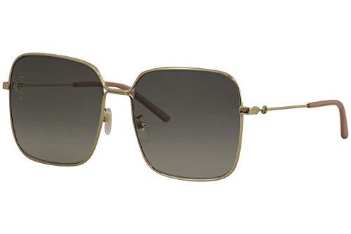 Gucci Gucci Logo 0443S 001 Gold Metal Square Sunglasses Grey Gradient Lens