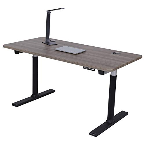 "ApexDesk Vortex Series 60"" 6-Button Electric Height Adjustable Sit to Stand Desk (Memory Controller, Fox Teakwood Top)"