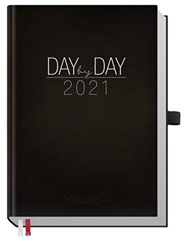 Chäff Organizer Day by Day 2021 A5 [Schwarz] 1 Tag pro Seite | Hardcover Kalender 2021, Tagesplaner, Terminkalender, Terminplaner, Tageskalender | nachhaltig & klimaneutral