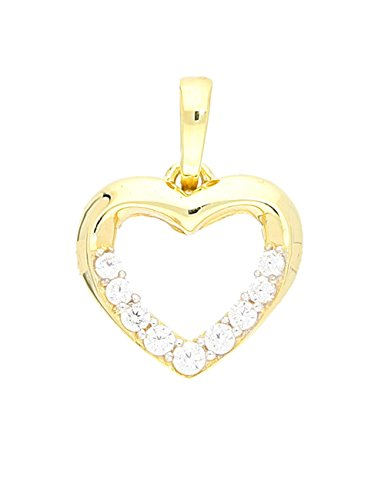 MyGold Herz Anhänger (Ohne Kette) Gelbgold 333 Gold (8 Karat) 9 Zirkonia 16mm x 12mm Herzform Herzanhänger Goldanhänger Fine A-05786-G301-CZC
