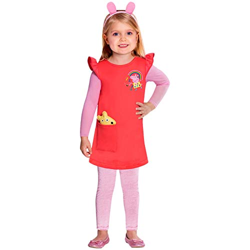 amscan 9905929 - Vestito rosso con Peppa Pig, 2-3 anni, 1 pezzo
