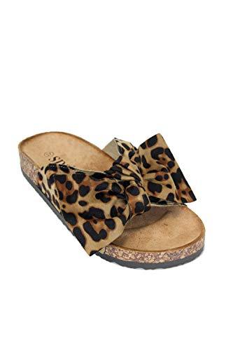 irisaa Bunte Pantoletten Sandalen mit Schleifen oder Blumen zum Sommer, 2019 Patoletten Farbe (1):Leopard, Schuhgröße 36-41:39