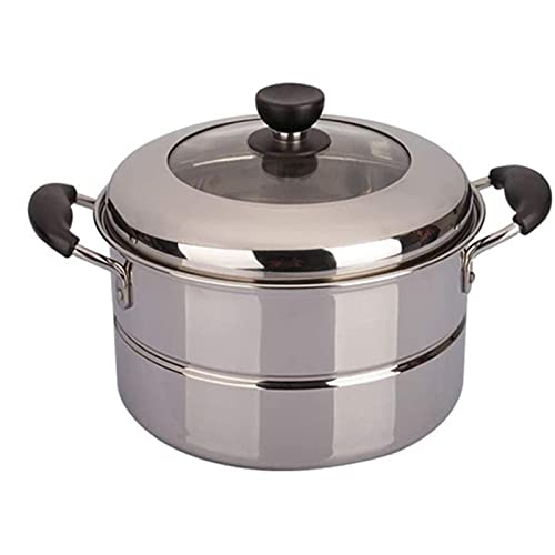 HHTD Vaporizador de combinación 24cm Cubierta de una Sola Capa de Acero Inoxidable de Acero Inoxidable Cocina de inducción Universal Utensilios de Cocina del hogar