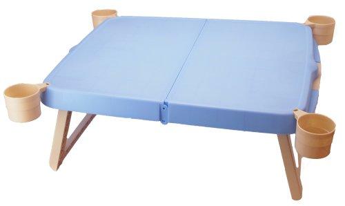 キャプテンスタッグ キャンプ ピクニック用 机 ホルン ハンディーテーブルカップ付 ブルーMP-951