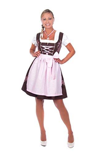 Edelnice Trachtenmode Mini Dirndl 3-teilig braun rosa mit passender Bluse und Schürze Gr 38