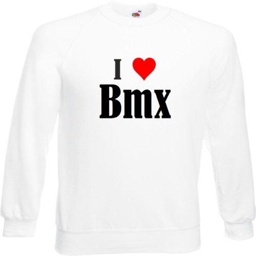 Sudadera de mercado de neumáticos I Love BMX para mujer, hombre y niños en los colores negro, blanco, azul con texto impreso Blanco Hombre Large