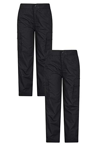 Mountain Warehouse Active Kids Trousers Lightweight Childrens Trousers Fast Drying All Season Pants Shrink Fade Resistant Casual Bottoms for Travelling Camping Black 11 12 Years