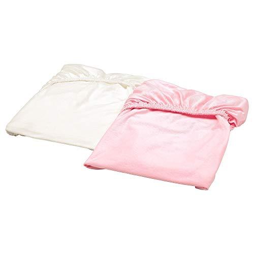 Ikea 303.741.06 LEN Spannbettlaken für Babybett, weiß, rosa, 70x140 cm, 2 Stück, Nicht Angegeben
