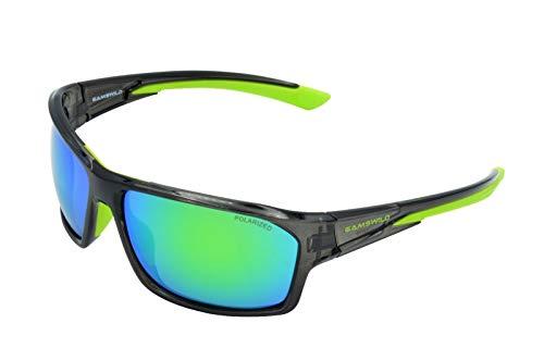 Gamswild WS4834 Sonnenbrille Skibrille Fahrradbrille Damen Herren Unisex | blau-lila | schwarz-grün | grau-orange, Farbe: Schwarz/Grün
