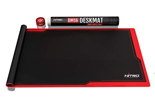 NITRO CONCEPTS DM16 Deskmat Desk Pad - Mouse Pad - Tappetino per Mouse per scrivania 1600x800mm - Nero/Rosso