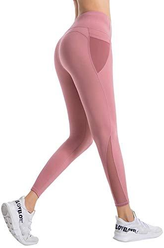 Damen Sport Fitness Yoga Pants High Waist Hose Lange Blickdicht Leggins Mit Taschen Sporthose Für Laufen Training Wandern Jogginghose Rosa M