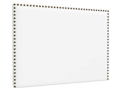 LA WEB DEL COLCHON - Cabecero tapizado Tachuelas para Cama de 135 (145 x 120 cms) Blanco   Cama Juvenil   Cama Matrimonio   Cabezal Cama  