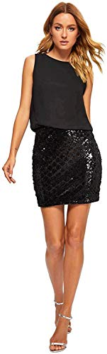 Romwe Women's Sexy Layered Look Fashion Club Wear Party Sparkle Sequin Tank Dress Black1 X-Small
