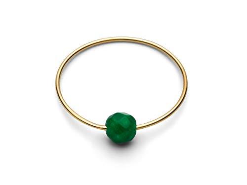 JUKSEREI Damenring Gold Birthstone-Ring Mai Smaragd - Geburtsring/Geburtstagsring Emerald Grün Harmonie Schönheit Sicherheit - RBSCHMAIg-54