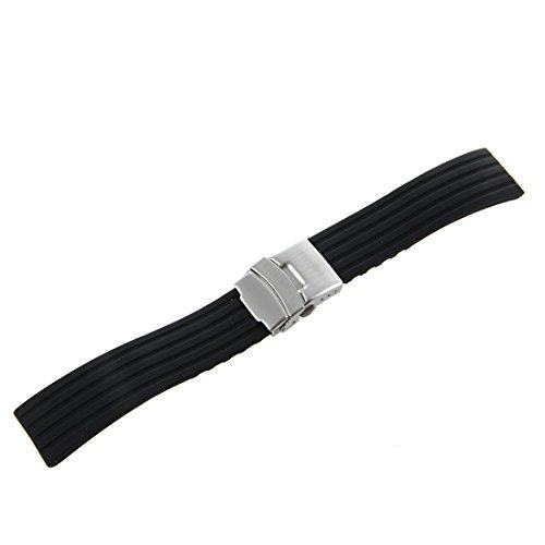 Kaxofang Silicona Reloj Correa de Caucho Band Hebilla del despliegue de 22 mm a Prueba de Agua, Color Negro