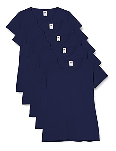 Fruit of the Loom Valueweight 5 Pack, T-Shirt Donna, Blu (Navy 32), XXL