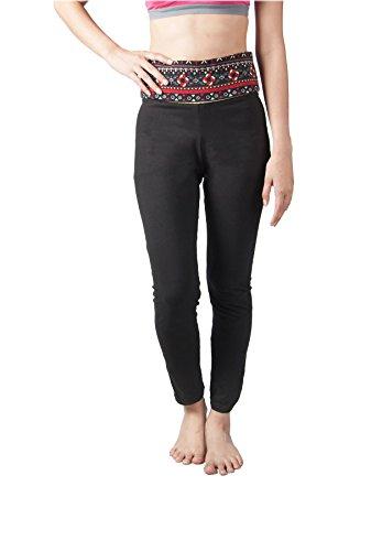 Lofbaz Damen Yoga Hosen mit faltbarem Bund für Frauen Design #2 Schwarz & Blau M