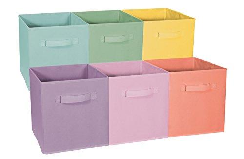 Sorbus Foldable Storage Cube Basket Bin - Great for Nursery Playroom Closet Home Organization Pastel Multi-Color 6 Pack