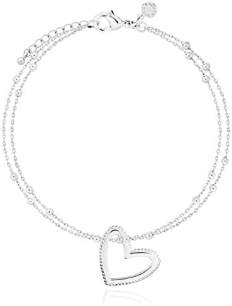 Katie Loxton Aurora Womens Silver Plated Double Bangle Charm Bracelet Open Heart product image