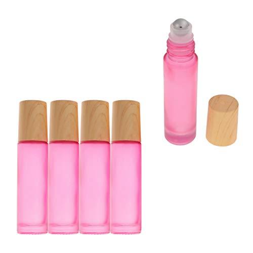 Lurrose 10 Stück 10 ml Glas ätherische Öl Roller Flaschen mit Edelstahl-Rollkugeln und Holzdeckel für ätherische Öle Aromatherapie