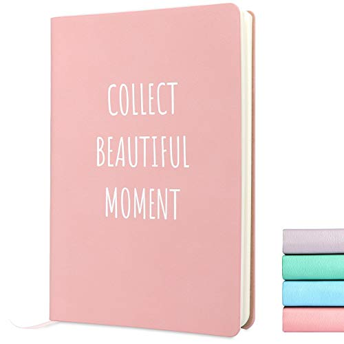 """A5 Soft Cover Notebook Journal-Morandi Colored Classic College Ruled Notebook,Ribbon Bookmark,Fine PU Leather,5.59""""x 8.23"""",80 Sheets/160 Pages,Diary for Student Note Taking (5.60'x8.23', Pink)"""