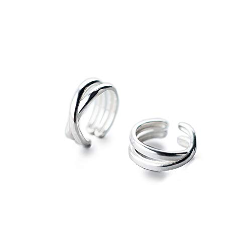 Simple Cuff Wrap Clip Earrings for Women Girls Men S925 Sterling Silver Double Bands layered X Criss Cross Knot Circle Open Hoop Earrings Minimalist Small Cartilage Non Piercing Fashion Unisex Jewelry