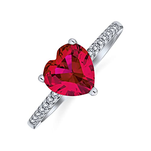 2.5CT Rosso Rosa Cuore Forma Solitario CZ Engagement Ring Thin Pave Band Simulato Ruby 925 Sterling Argento Promise Ring