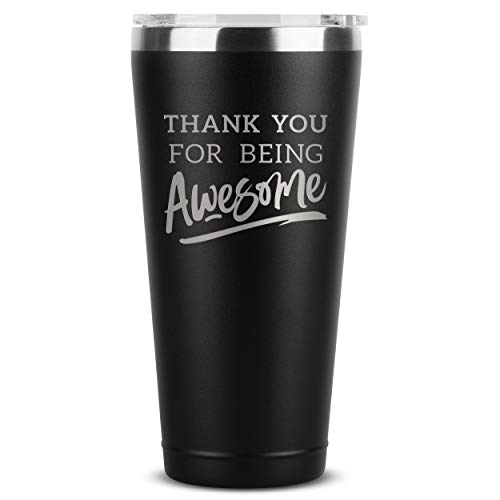 Thank You For Being Awesome - 30 oz Black Insulated Stainless Steel Tumbler w/ Lid - Birthday Christmas Present Gift Ideas for Women Men Wife Husband Son Daughter Friend - Presents Gifts Bday Idea Mug