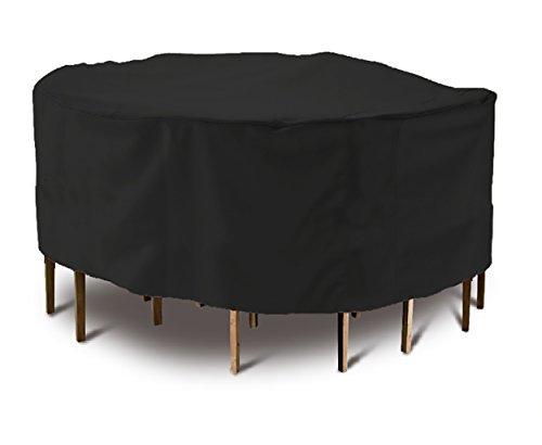 OOFIT Abdeckhaube rund für Gartentisch Premium Schutzhülle, wasserdicht, kälteresistent, UV- Beständig, Durchmesser Ø 185cm x Höhe 110cm