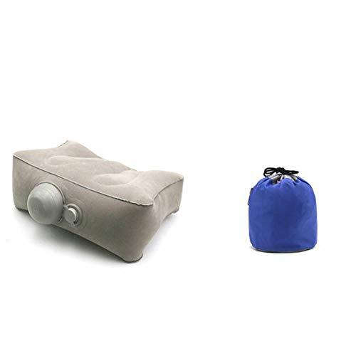 Aomerrt Inflatable Travel Fußstütze Kissen Kinderauto Flugzeug Schlafsofa Beinstütze Büro Nacken Schreibtisch Kissen für den Schlaf auf Langen Flügen, MT501-1 schichtgrau
