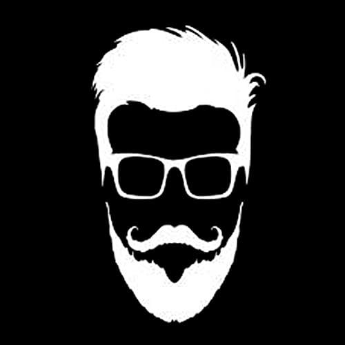 Pegatinas de coche y motocicleta para coche y motocicleta, gafas de marea, cabeza de barba, pegatinas de parachoques de moda, 14 cm x 8 cm, negro/plateado (color: 2)